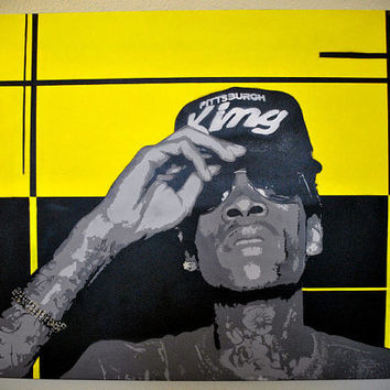 "Wiz Khalifa ""Pittsburgh's King"" Stencil Art on Canvas"