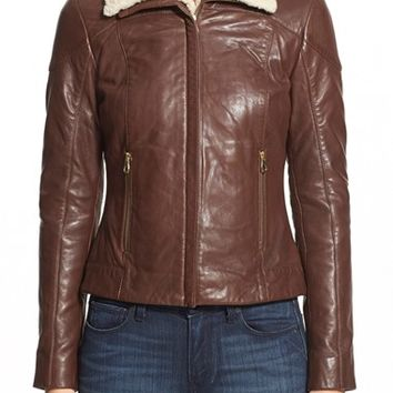 Women's Ted Baker London Genuine Shearling Trim Leather Jacket,