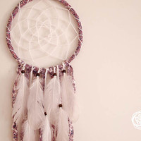Dream Catcher - Pure Flowers - With Pure Floral Textiles and White Feathers - Boho Nursery Decor, Home Decoration