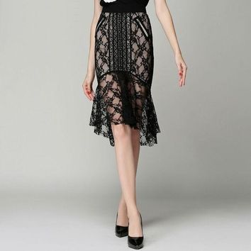CREYHY3 High quality 2016 new summer fashion runway brand elegant lace slim hip step ruffles fishtail bust skirts women's SPY6221