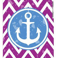 Purple Chevron Nautical Blue Boat Anchor Apple ipod 5 Ipod 5g Quality Hard Case Snap On Skin for ipod Gen 5 and 5, 5G (WHITE CASE)