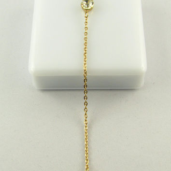 Delicate Diamond Y Necklaces/ 14k Gold Filled or Sterling Silver Lariat Necklace / Crystal  Necklace