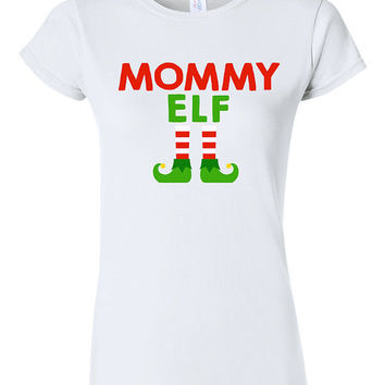 Mommy Elf Christmas T-shirt Tshirt Tee Shirt Gift Xmas Holiday Spirit Santa Festive Holly Jolly Funny Cute Family Mom Dad Child Daddy Set