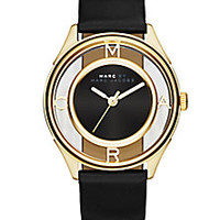 Marc by Marc Jacobs - Tether Skeleton Goldtone Stainless Steel & Leather Strap Watch - Saks Fifth Avenue Mobile
