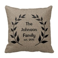 Burlap Print with Silhouette Family Name Pillow