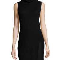 Sleeveless Turtleneck Tunic, Black, Size:
