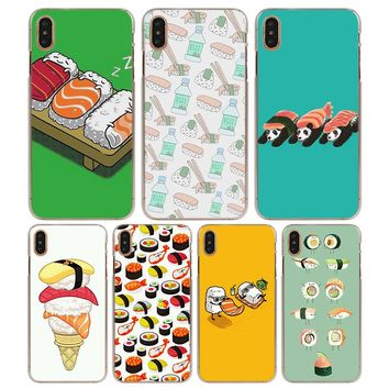 cartoon sushi food Pattern Transparent Hard Phone Cases Cover for Apple iPhone X XS XR XS MAX 6 6s 6Plus 7 8 7 Plus SE 5S