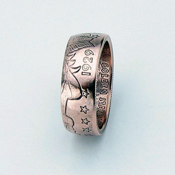 Incuse Indian 1/4oz .999 Pure Copper Coin Ring,Unique Ring,Coin Jewelry,Mens,Band,Rings