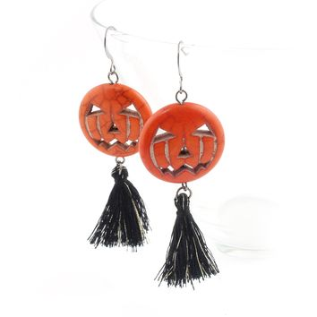 Jack o Lantern Tassel Drop Earrings