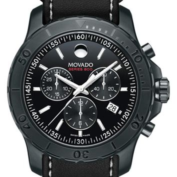 Men's Movado 'Series 800' Chronograph Leather Strap Watch, 42mm - Black