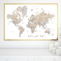 """Printable watercolor world map with cities in neutrals, Let's get lost, large 36x24"""""""