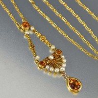 Gold, Pearl and Citrine 1900s Lavalier Necklace