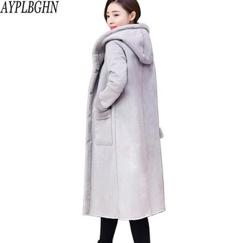 2017 Plus size New Winter Women Jacket Coat Medium Long Suede Lamb Wool Coat Thickening Super Warm Cotton Coat 8L41