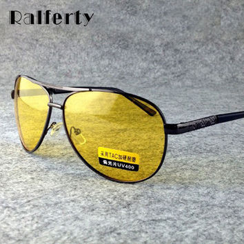 Ralferty Yellow Polarized Sunglasses Men Women Night Vision Goggles Driving Glasses Driver Aviation Polaroid Sun Glasses UV400