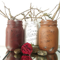 Rustic, Home Decor - Set of Three (3), Hand Painted Mason Jars | Shades of Brown and White Painted Mason Jars