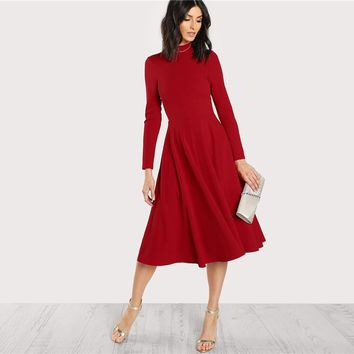 Plain Fit and Flare Elegant Midi Dress Office Ladies Mock Neck Pleated A Line Women Long Sleeve Fall Party Dress