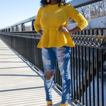 Playful Cable Knit Peplum Sweater