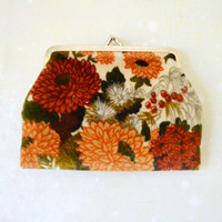 1970's Harvest Floral Change Purse // Velveteen and Brass Autumn Floral Coin Purse