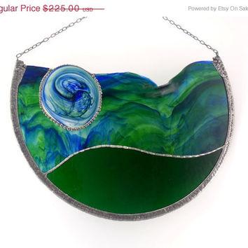 Modern Stained Glass - Window Hanging - Wall Decoration - Emerald Green and Blue - Decorative Panel - Original Artwork - Contemporary Home