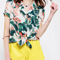 Urban Outfitters - Kimchi Blue Tie-Front Tropical Print Shirt