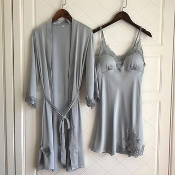Freshing Summer  Lace Sexy Women Robe Sets Summer Thin Section Rayon With Removable Pad Pajamas