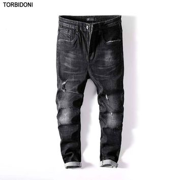 Biker Jeans Men Little Stretch Ripped Hole Jeans Skinny Black Distressed Fashion Designer Brand Hip Hop Autumn Streetwear Pants