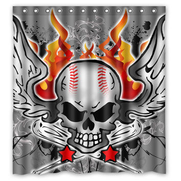 Cool Baseball Skull Custom Unique Fabric Bath Waterproof Shower Curtain Bathroom Products Curtains 48x72, 60x72, 66x 72 inches