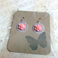 CLEARANCE - Sweet Pink Flowers Floral Silver Dangle Earrings