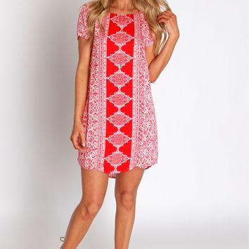 Orange Twist Print Dress