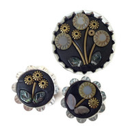 Flower Magnets, Set of Three Mosaic Refrigerator Magnets