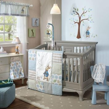 Lambs & Ivy Peter Rabbit 6 Piece Baby Nursery Crib Bedding Set w Bumper & Mobile