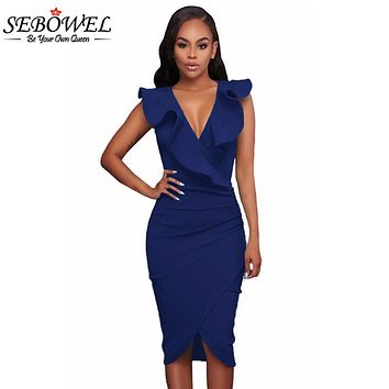 SEBOWEL 2017 Summer Ruffle V Neck Sexy Bodycon Midi Wrap Dress Elegant Formal Office Pencil Dress Sleeveless Club Party Dress