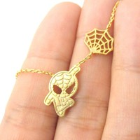 Spider-Man and Web Shaped Charm Necklace in Gold | Marvel Super Heroes