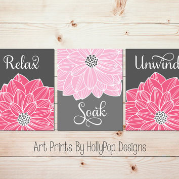 Relax Soak Unwind Modern bathroom art Spa decor Bathroom print set Bathroom wall decor Pink gray Dahlia floral burst Flower prints #1081