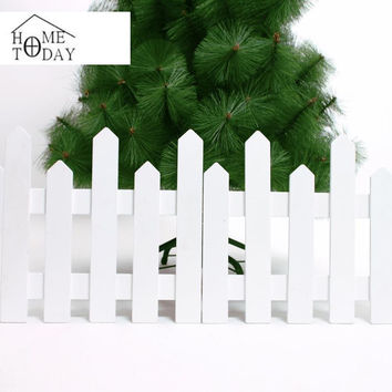 1.2 Meter Long Fence Chrismas Tree Ornaments Burlywood/White Wooden Fence Merry Xmas Decoration For Home Garden Yard Navidad
