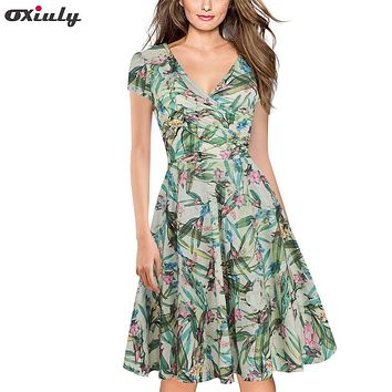Oxiuly Women Green Leaf Floral Print Ruffle V Neck Dress Short Sleeve Knee Length Dresses Lady Wear Casual A-Line Dress Vestidos