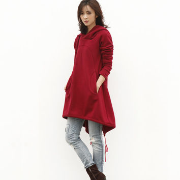 Wine Red Hoodie Sweatshirt Cotton Fleece Hoodie Dress Top with Big Hood for Autumn and Spring - Custom made - NC449