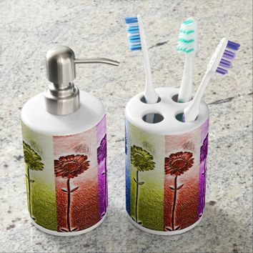 Flower toothbrush holder and soap dispenser