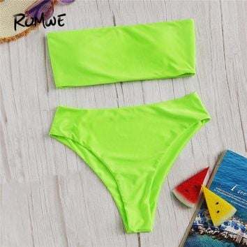 78e797703aeb Romwe Sport Green Neon Lime Bandeau With High Waist Bottoms Bikinis Set  Sexy Women Summer Beach