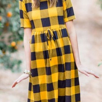 Yellow-Black Plaid Pattern Sashes Draped High Waisted A-line Casual Midi Dress