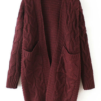Red Long Sleeve Knit Pockets Cardigan