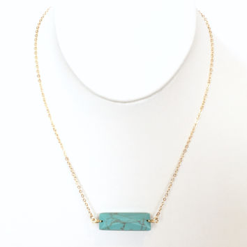 Dry Bar Pendant Necklace In Turquoise