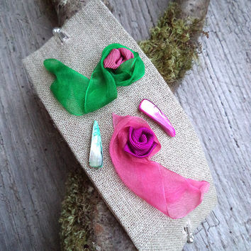 Floral linen cuff, fabric bracelet, decorated with handmade marsala, pink and green flowers, and mother of pearl beads.