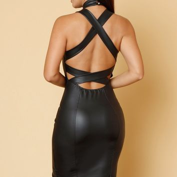 Just Do It Faux Leather Dress