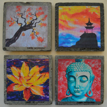 Fine Art Coasters, set of 4, zen, drink coaster, slate, stone, buddha, asian, distressed
