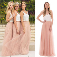 Long Bridesmaid Dresses Spaghetti Satin Tulle Floor Length White Pink Country Bridesmaid Gown Beach Wedding Party Dress BZ05