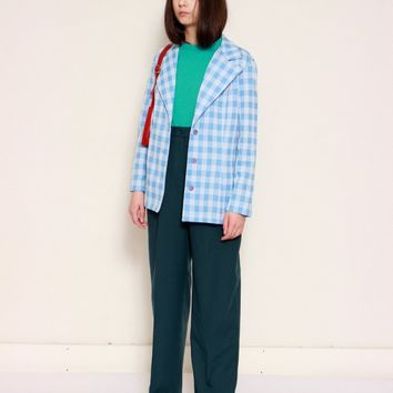 High Rise Pleated Teal Trousers / XL