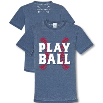 Southern Couture Lightheart Play Ball Baseball Triblend Front Print T-Shirt