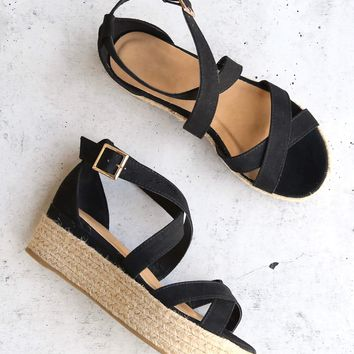 Criss Cross Strappy Two Band Espadrilles Platform Sandal with Ankle Strap - Black Suede