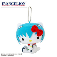 Evangelion x Hello Kitty Rei Ayanami Key Chain Charm Mascot Sanrio New